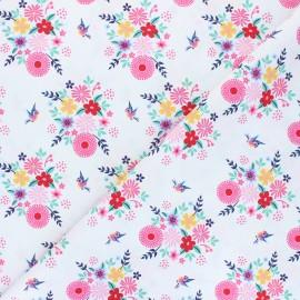 Tissu popeline de coton Fiona Hewitt - Birdy Flowers - blanc cassé x 10cm