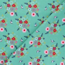 Fiona Hewitt poplin cotton fabric - green Birdy Flowers x 10cm