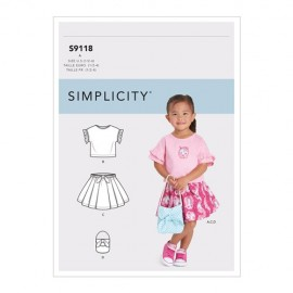 Skirt, top and bag sewing Pattern for Children - Simplicity n°9118