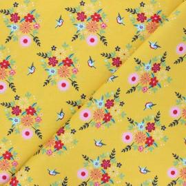 Fiona Hewitt poplin cotton fabric - mustard yellow Birdy Flowers x 10cm