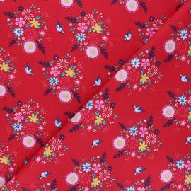 Fiona Hewitt poplin cotton fabric - red Birdy Flowers x 10cm