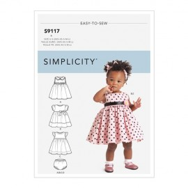 Dresses and bloomer sewing Pattern for babies - Simplicity n°9117