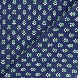 Tissu popeline de coton Fiona Hewitt - Raspberry Flowers - bleu marine x 10cm