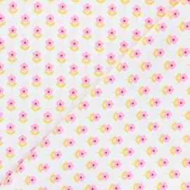 Tissu popeline de coton Fiona Hewitt - Raspberry Flowers - blanc cassé x 10cm