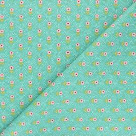 Fiona Hewitt poplin cotton fabric - green Delight Flowers x 10cm