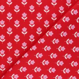 Tissu popeline de coton Fiona Hewitt - Raspberry Flowers - rouge x 10cm
