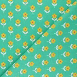 Fiona Hewitt poplin cotton fabric - green Raspberry Flowers x 10cm
