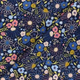 Poppy poplin cotton fabric - navy blue Colorful Flowers x 10cm