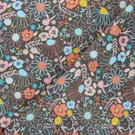 Poppy poplin cotton fabric - taupe Colorful Flowers x 10cm