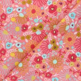 Poppy poplin cotton fabric - pink Colorful Flowers x 10cm