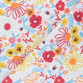 Poppy poplin cotton fabric - off-white Colorful Flowers x 10cm