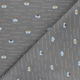 Poppy poplin cotton fabric - mouse grey Boat x 10cm