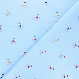 Poppy poplin cotton fabric - ice blue Boat x 10cm
