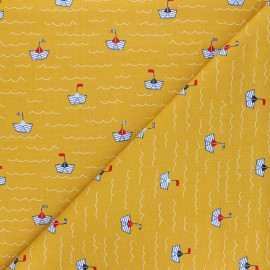 Poppy poplin cotton fabric - mustard yellow Boat x 10cm