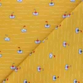 Tissu coton popeline Poppy Boat - jaune moutarde x 10cm
