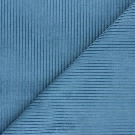 Tissu velours à grosses côtes Lisboa - bleu houle x10cm