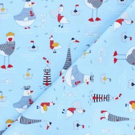 Poppy poplin cotton fabric - ice blue A Day at The Beach x 10cm