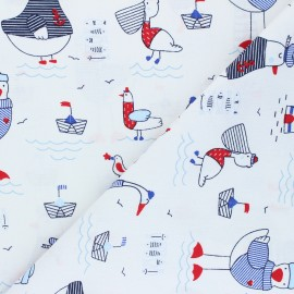 Poppy poplin cotton fabric - white A Day at The Beach x 10cm