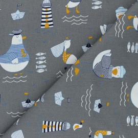 Poppy poplin cotton fabric - mouse grey A Day at The Beach x 10cm