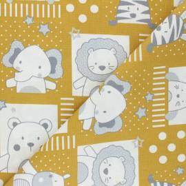 Tissu coton popeline Poppy Sweet Baby Animals - jaune moutarde x 10cm