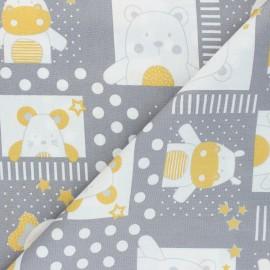 Tissu coton popeline Poppy Sweet Baby Animals - gris x 10cm