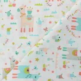 Tissu coton popeline Poppy Lama Cactus Party - blanc cassé x 10cm