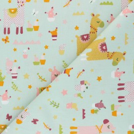 Tissu coton popeline Poppy Lama Cactus Party - menthe claire x 10cm