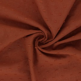 Tissu voile de coton plumetis Délicatesse - cannelle x 10cm
