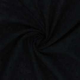 Tissu voile de coton plumetis Délicatesse - noir x 10cm