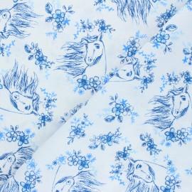 Poplin cotton fabric - white Spirit Riding Free x 10cm