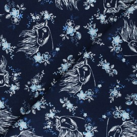 Poplin cotton fabric - navy blue Spirit Riding Free x 10cm