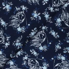 Tissu coton popeline Spirit Riding Free - bleu marine x 10cm