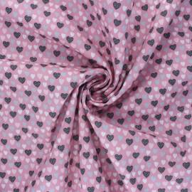 Tissu popeline de coton Poppy Lovely Hearts - rose x 10cm