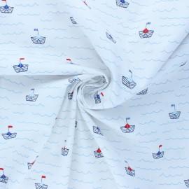 Tissu coton popeline Poppy Boat - blanc x 10cm