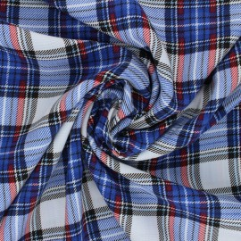 Checked Viscose Fabric - blue Justin x 10cm