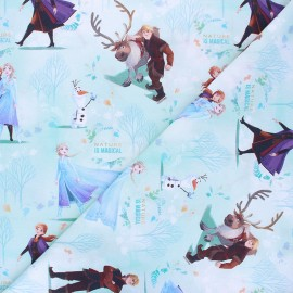 Cretonne cotton fabric - aqua green Magical Frozen x 10 cm