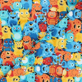Makower UK Fabric Outer Space - blue Aliens x 10cm