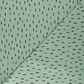 Poppy Jersey fabric - sage green Playfull stripes x 10cm
