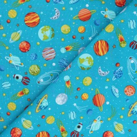 Makower UK Fabric Outer Space - duck blue Planets x 10cm