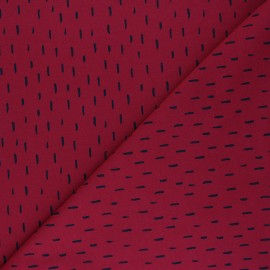 Poppy Jersey fabric - carmine red Playfull stripes x 10cm