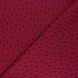 Tissu jersey Poppy Playfull stripes - rouge carmin x 10cm