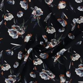 Print polyester satin fabric - black Dried Flower  x 10cm