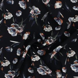 Tissu satin polyester Dried Flower - noir x 10cm