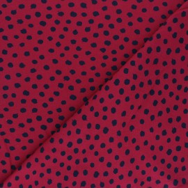 Poppy Jersey fabric - carmine red Dots x 10cm