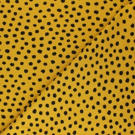 Poppy Jersey fabric - mustard yellow Dots x 10cm