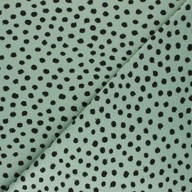 Poppy Jersey fabric - sage green Dots x 10cm