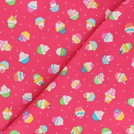Tissu coton Makower UK Daydream Cupcakes - rose fuchsia x 10cm