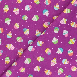 Tissu coton Makower UK Daydream Cupcakes - figue x 10cm