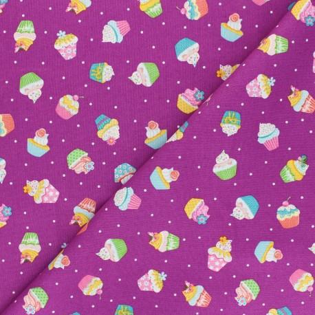 Makower UK Fabric Daydream - fig purple Cupcakes x 10cm