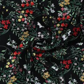 Flowery Viscose Fabric - black Cécilia x 10cm